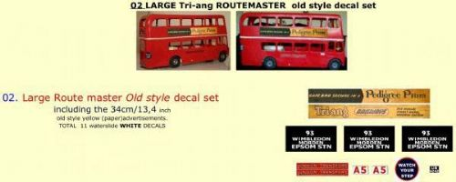 "02 LARGE Tri-ang Triang ROUTEMASTER  Bus "" OLD STYLE "" Paper and White decal set"